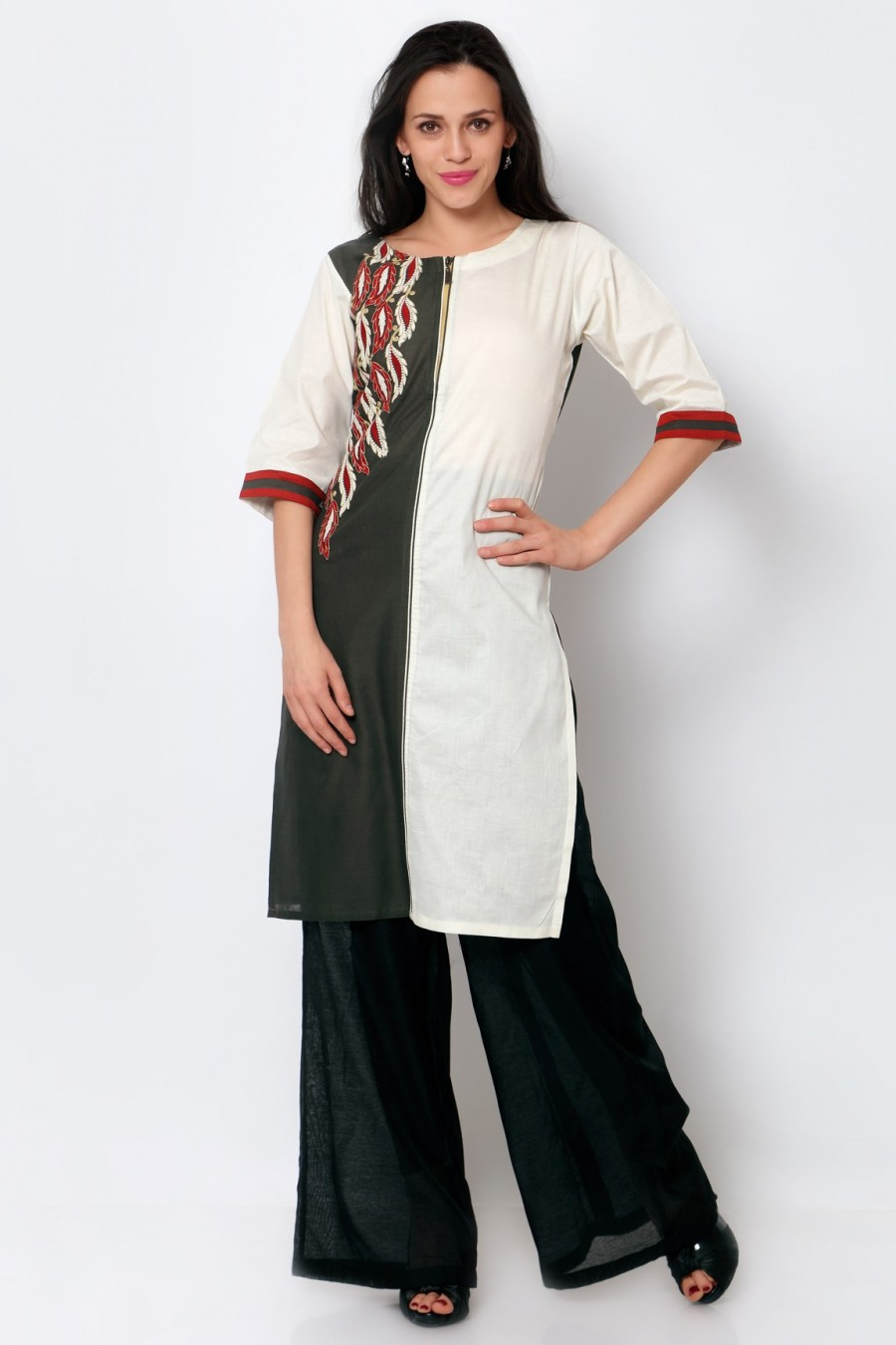 Buy Grey and White Cotton Embroidered Kurti Online