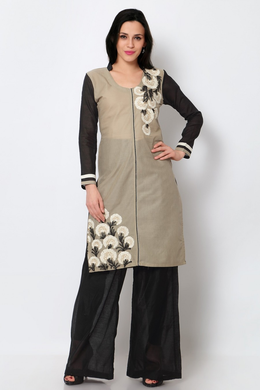 Buy Grey Cotton Embroidered Kurti Online