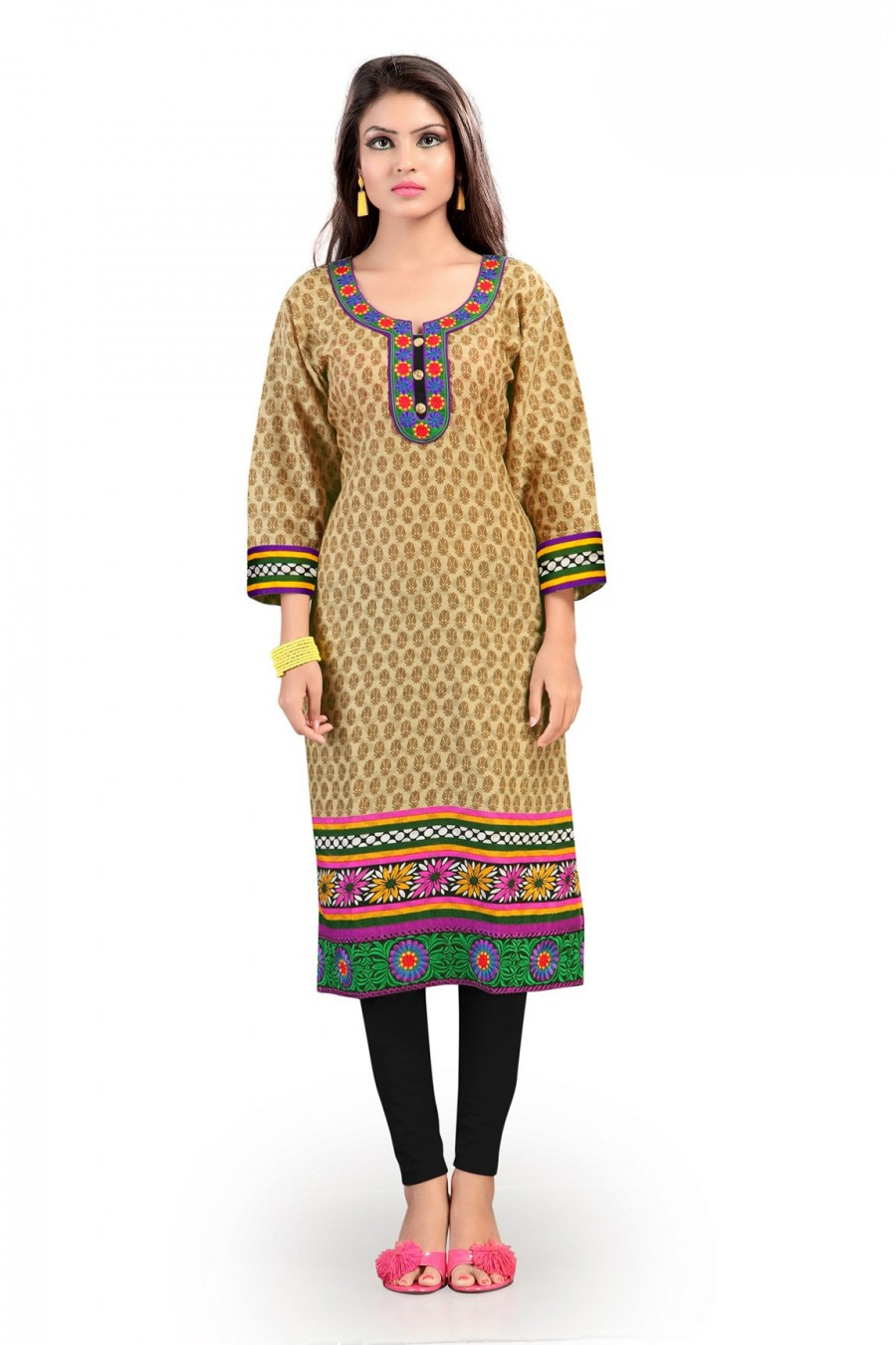 Buy Light Brown Cotton Floral Printed Kurti Online
