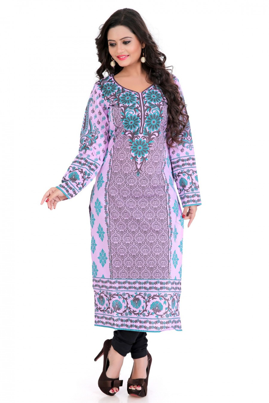 Buy Light Pink Cambric Cotton Block Printed Kurti Online