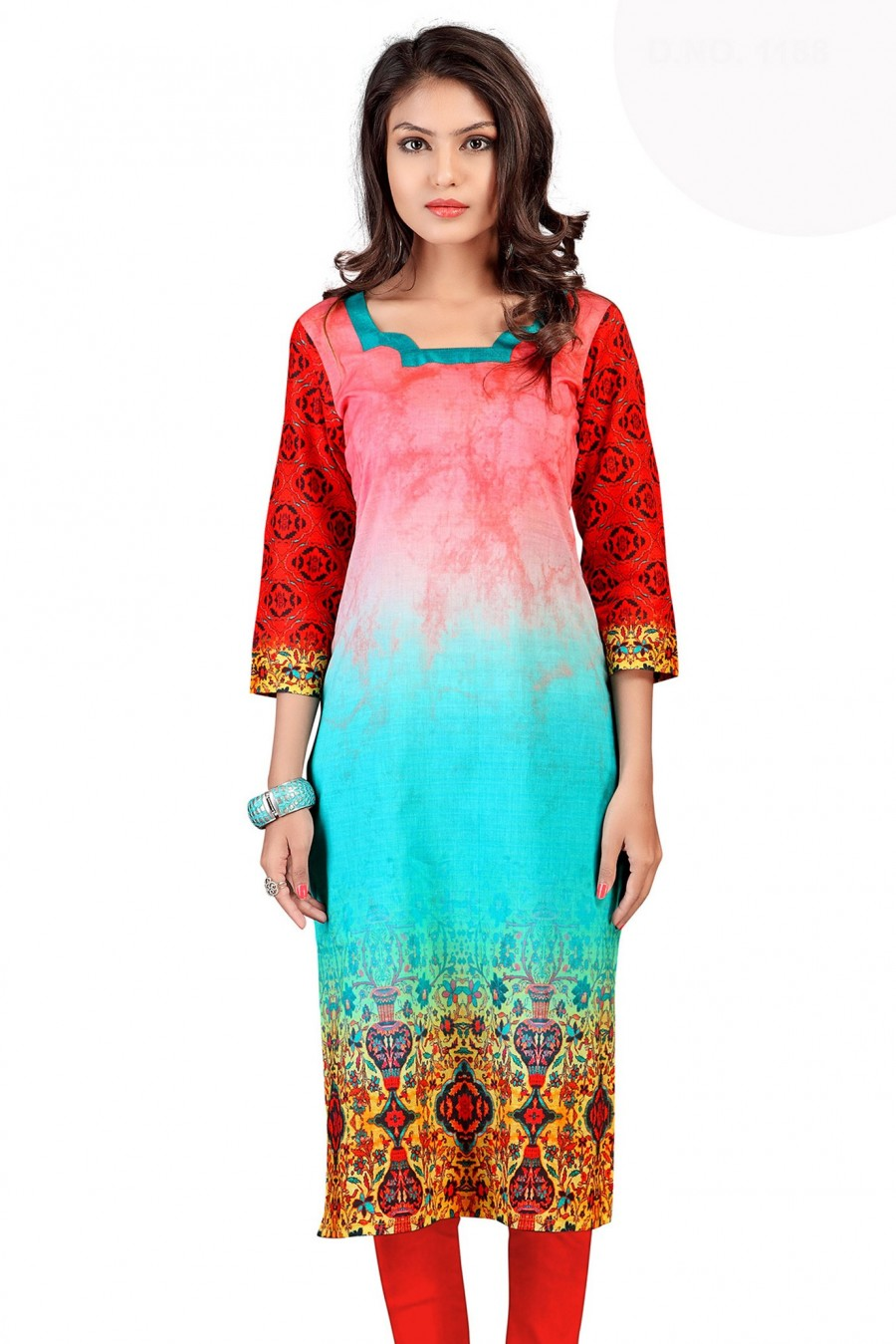 Buy Multi-color Cotton Digital Printed Kurti Online