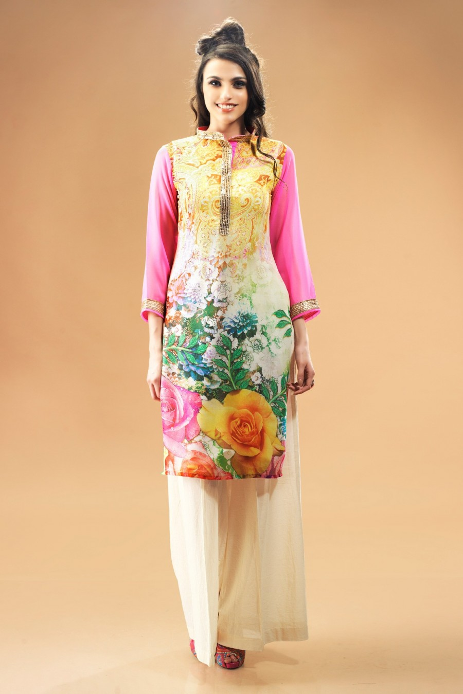 Buy Multi-color Georgette Kurti Comprising All-over Floral Prints Online