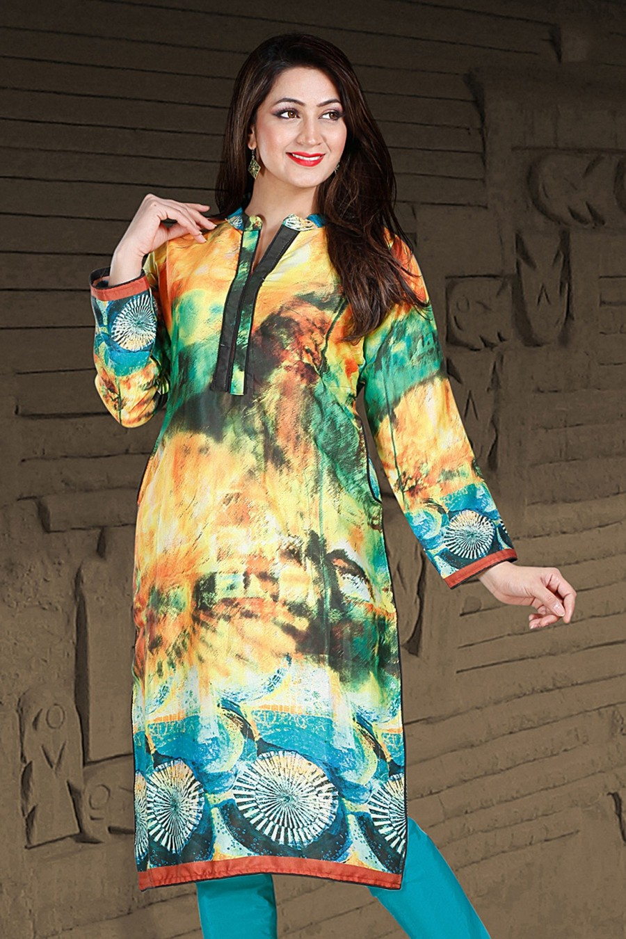 Buy Multi-color Pashmina Kurti Having Print Work Online