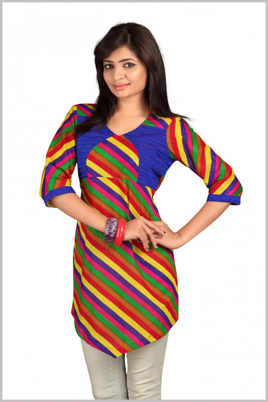 Buy Multi-color pure Cambric Cotton Printed Kurti Online