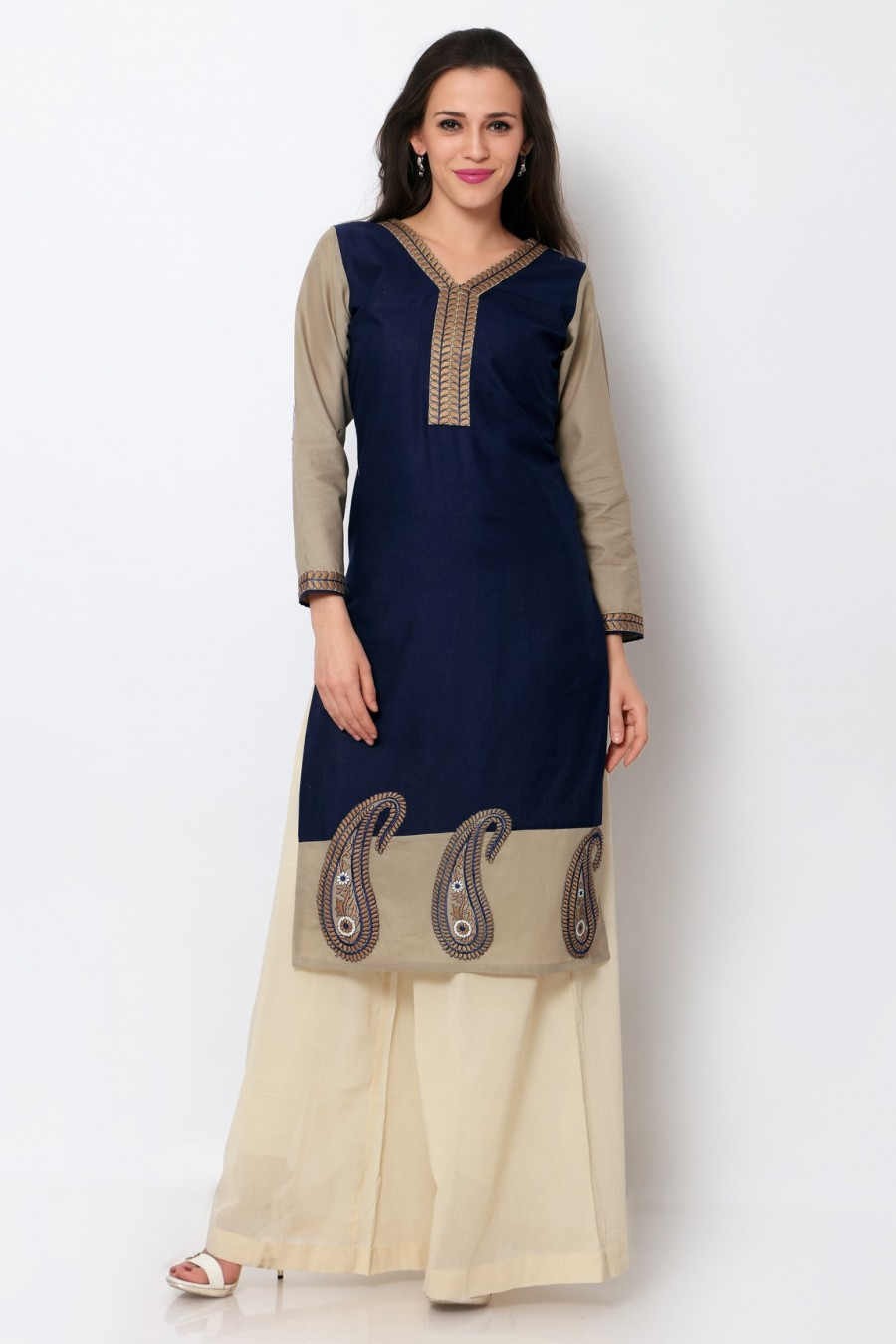 Buy Navy Blue Cotton Embroidered Kurti Online