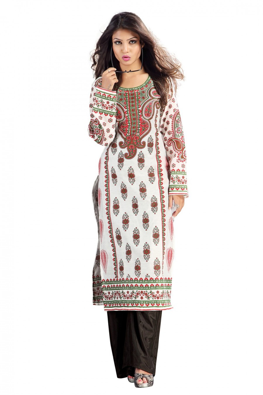 Buy Off White Chanderi Kurti Comprising Traditional Motif  Online