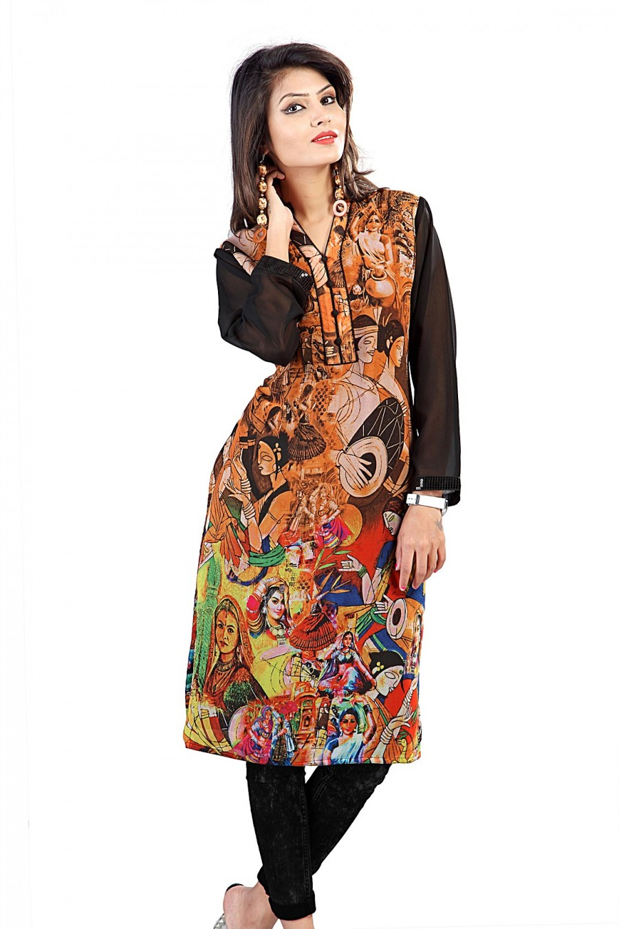 Buy Orange and Black Georgette Digital Printed Kurti Online