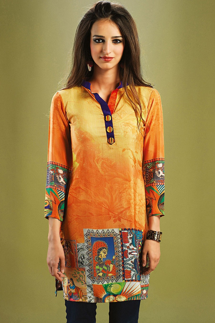 Buy Orange Crepe Digital Printed Kurti Online