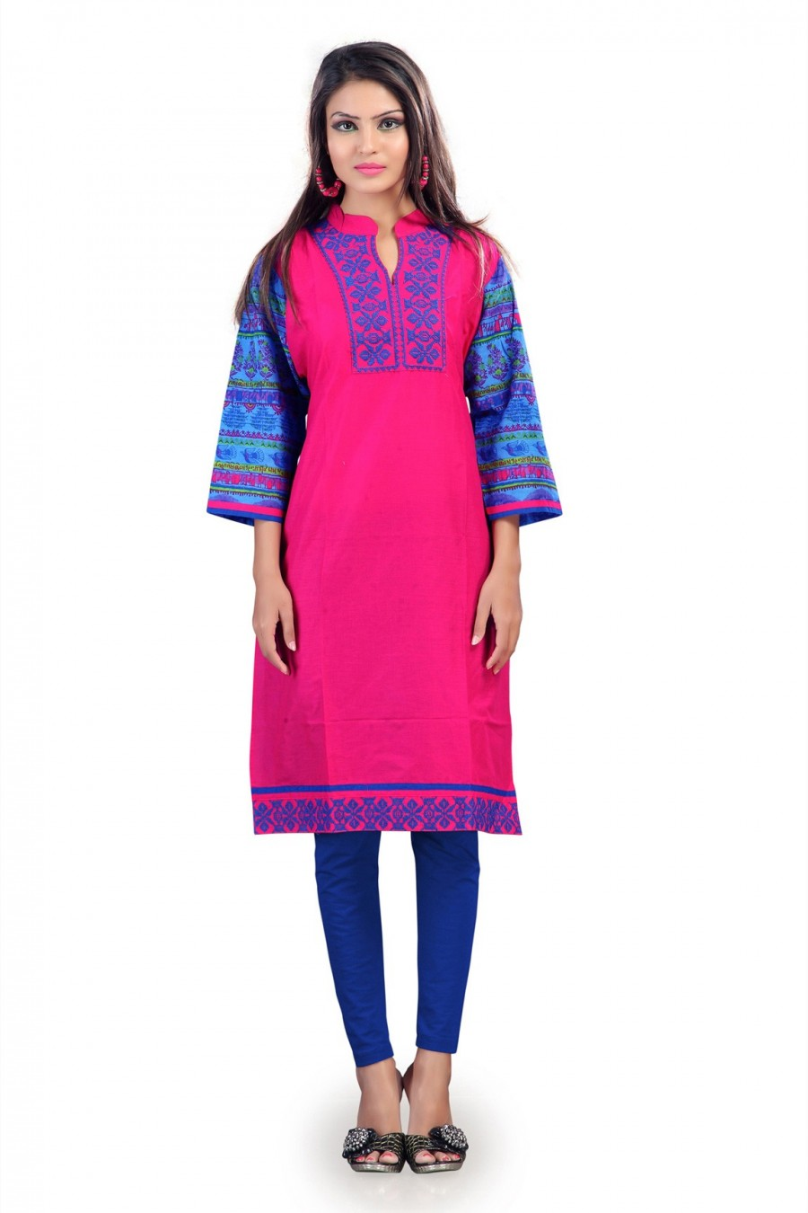 Buy Pink and Blue Cotton Kurti with Traditional Motif Print Online