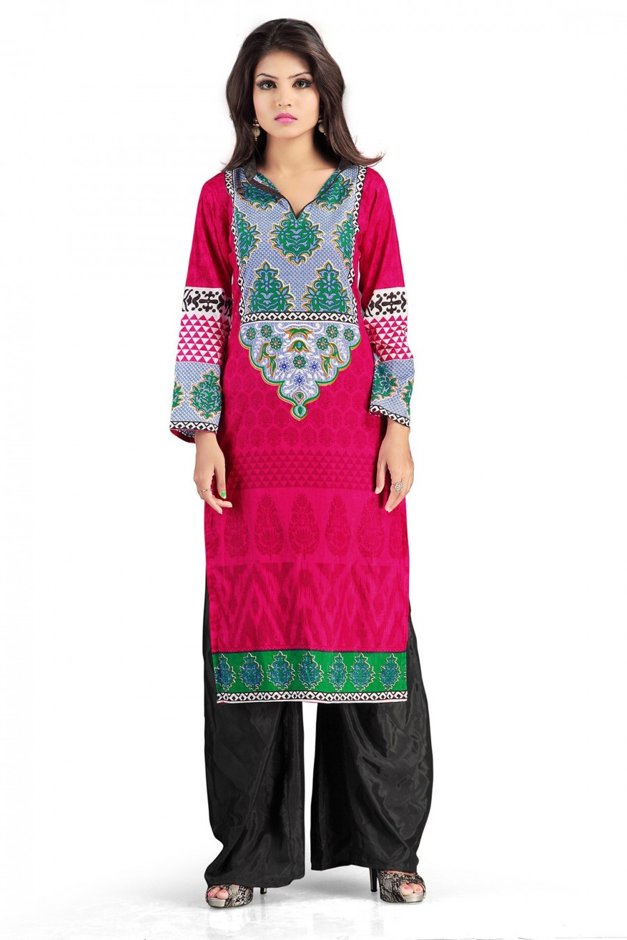 Buy Pink Color Cotton Kurti Containing Traditional Motif  Online