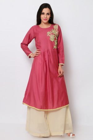 Buy Pink Cotton Embroidered Fancy Kurti Online