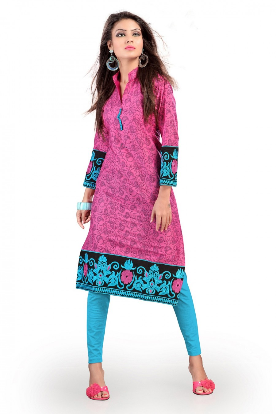 Buy Pink Cotton Kurti Comprising Embroidery Work Online
