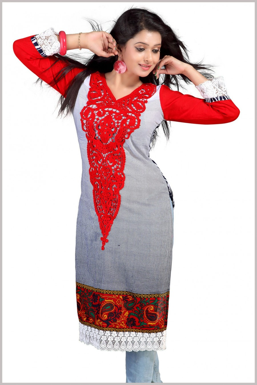 Buy Red and Black Cotton Printed Kurta Online