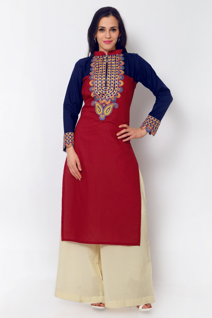Buy Red Cotton Embroidered Kurti Online