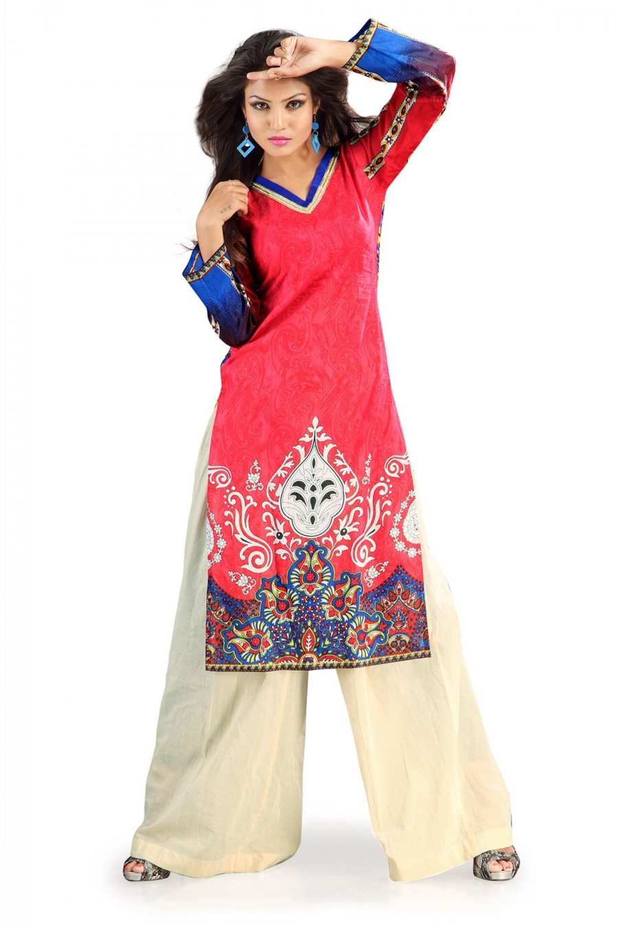 Buy Red Cotton Kurti Having Allover Subtle Prints Online