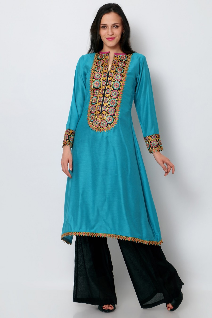 Buy Sky Blue Cotton Embroidered Fancy Kurti Online