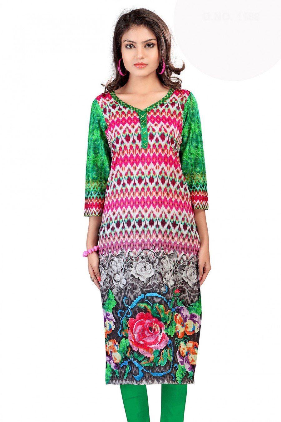 Buy V-Neck Digital Printed Cotton Kurti Online