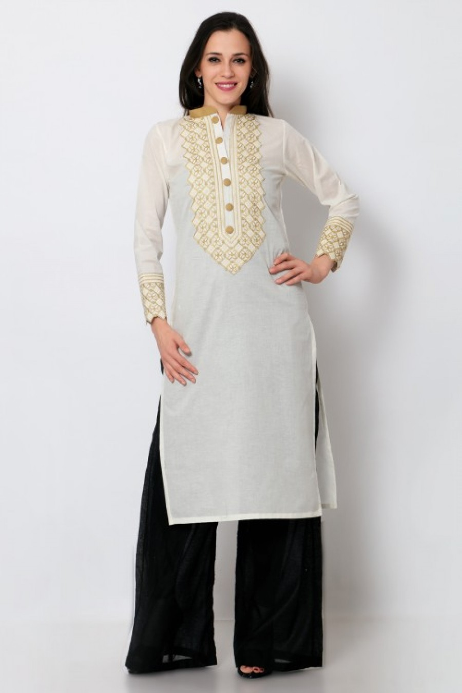 Buy White Cotton Embroidered Kurti Online