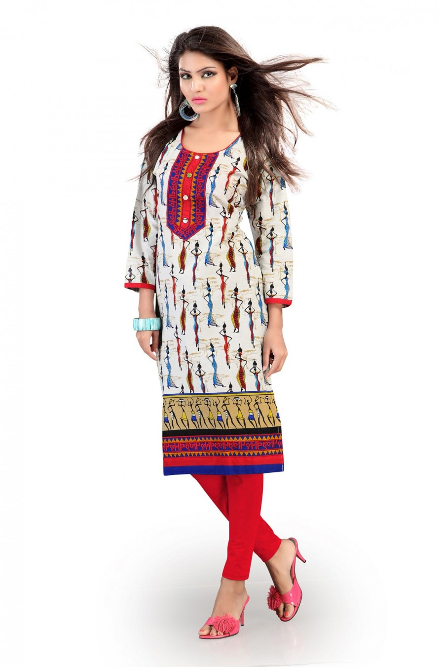 Buy White Cotton Kurti with Interesting Printed Work Online