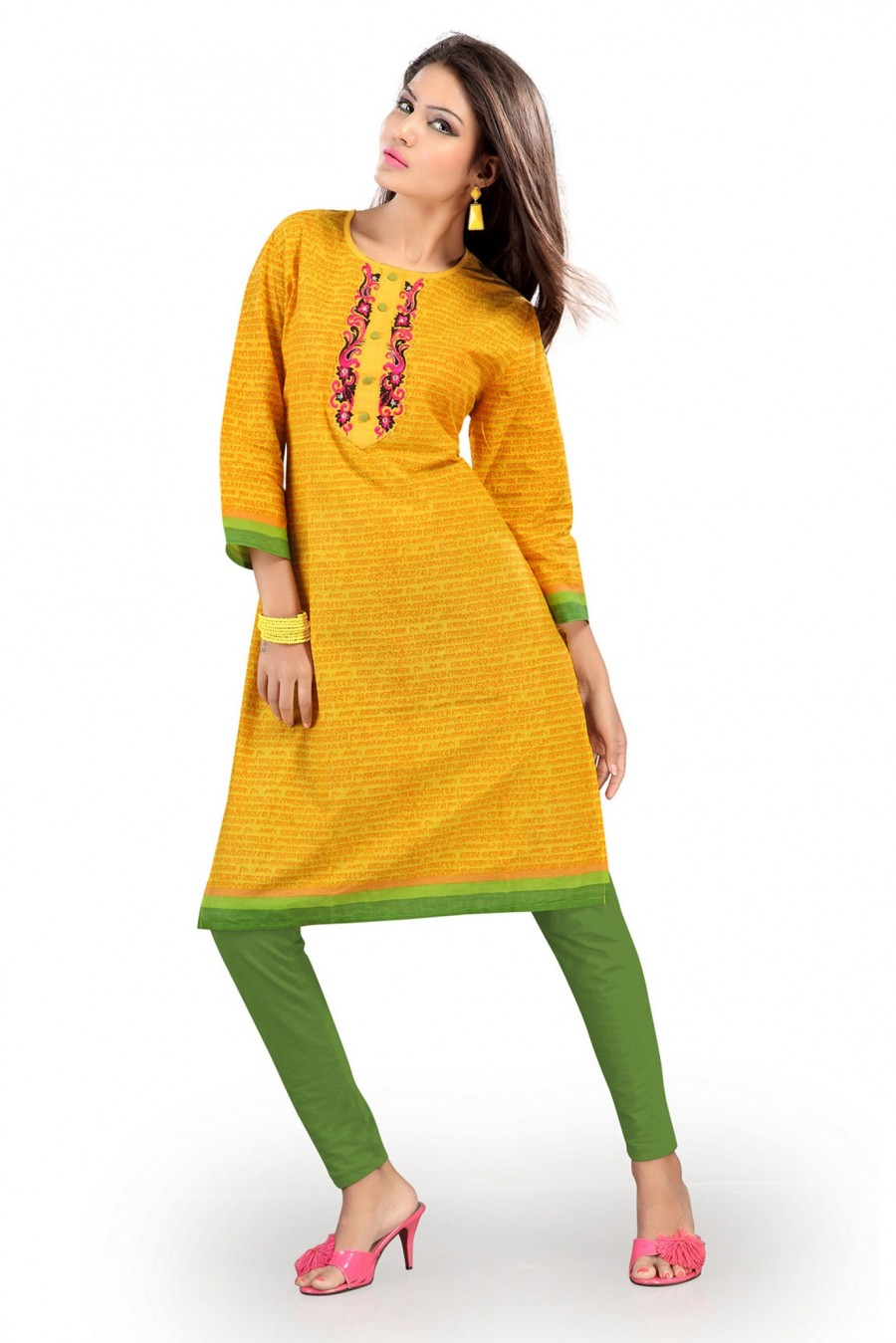 Buy Yellow Cotton Kurti Containing Printed Work Online