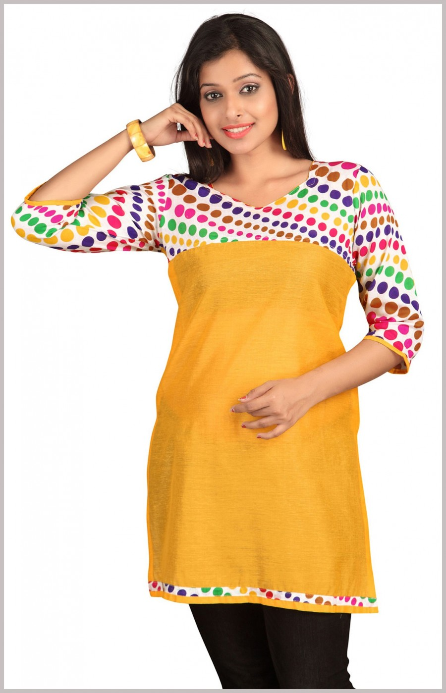 Buy Yellow Kurti with Multi-color Dots Online