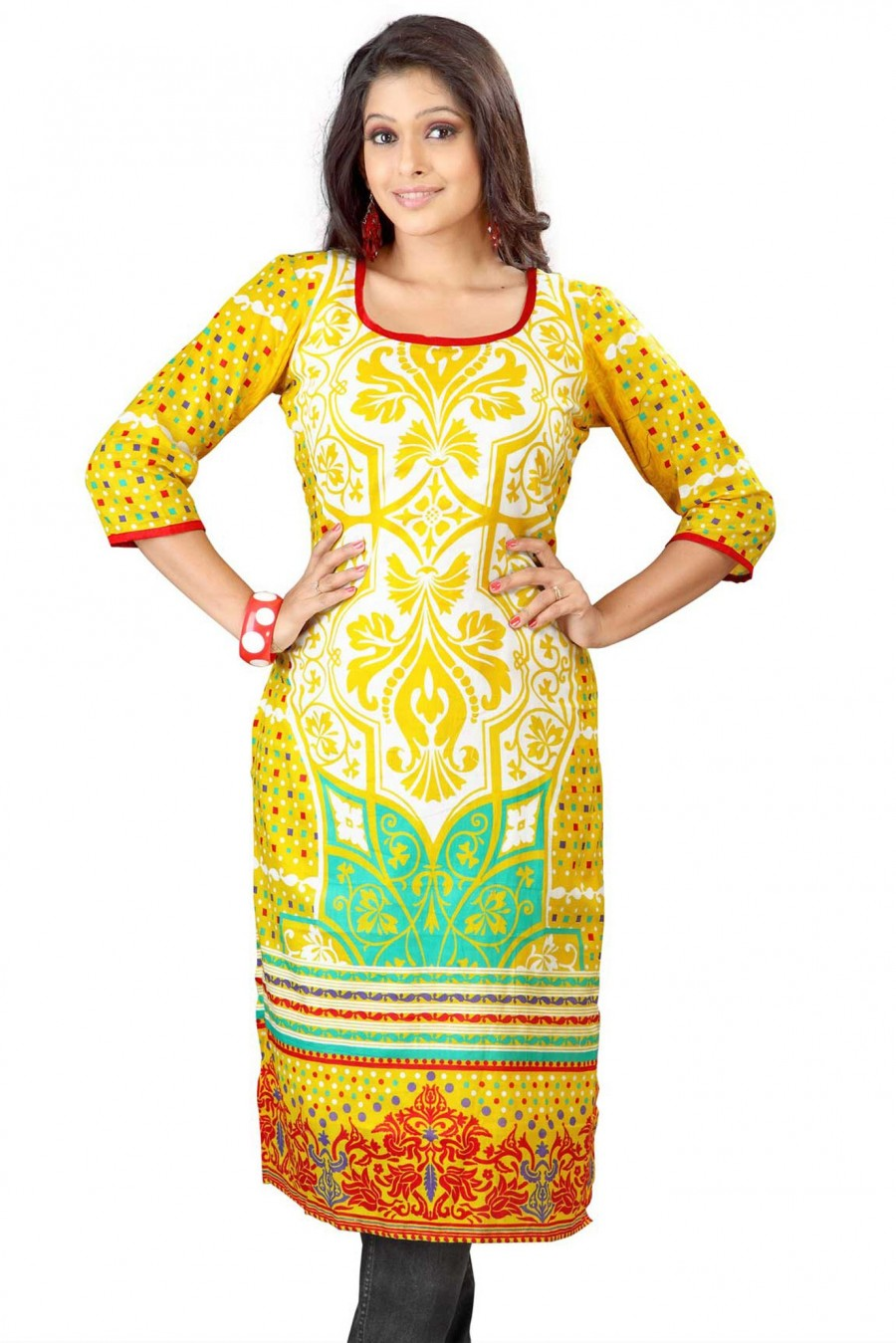 Buy Yellow Square Neck Cambric Cotton Kurta Online