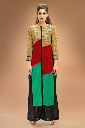Buy Brown, Red and Green Georgette Printed Tunic Online
