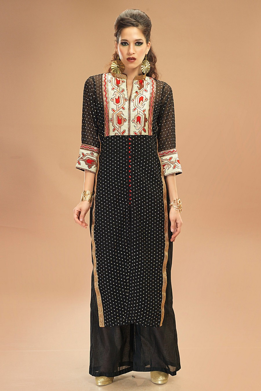 Buy Black Georgette Dot Printed Tunic Online