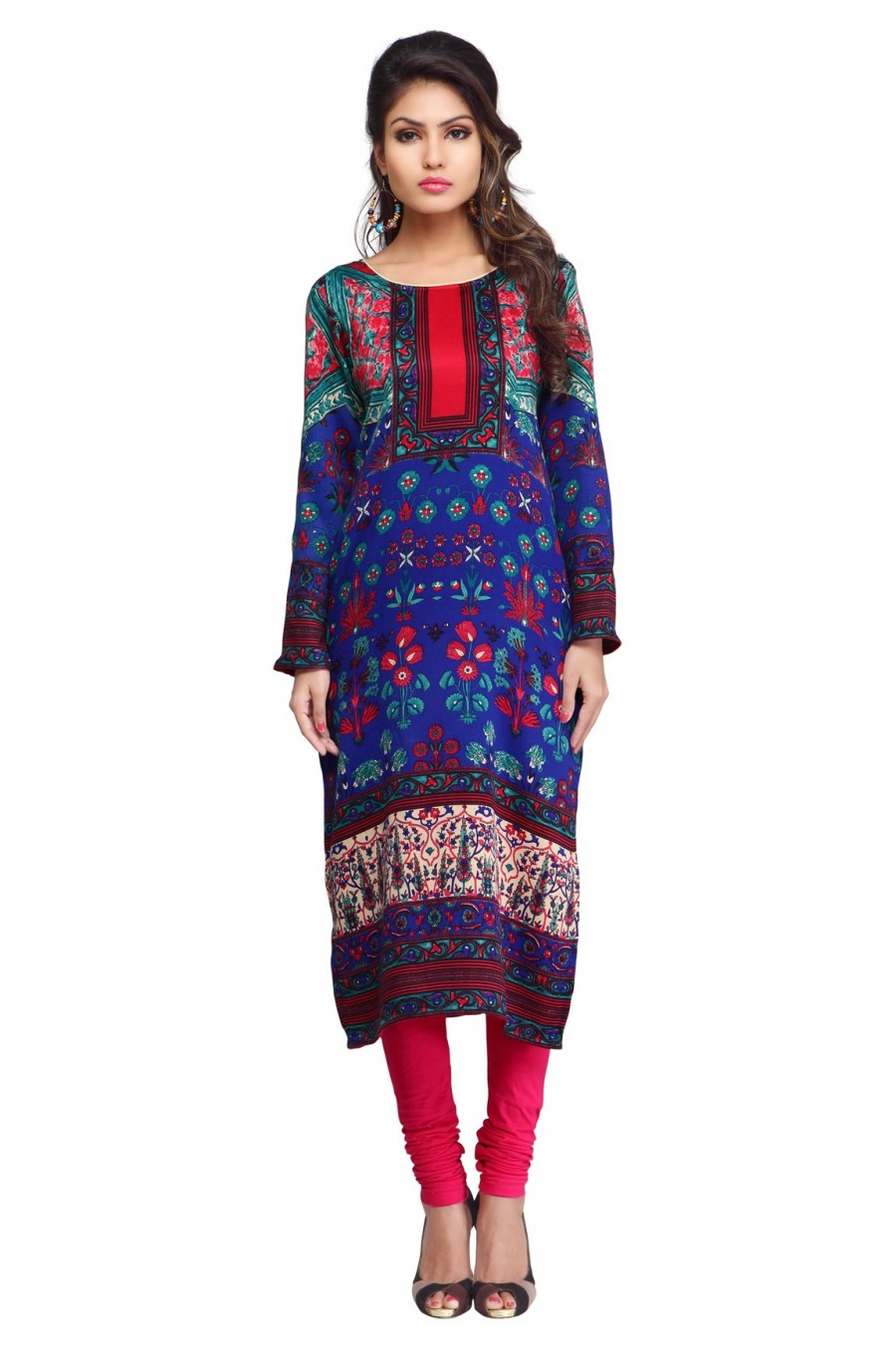 Buy Blue Pashmina Printed Long Kurti Online