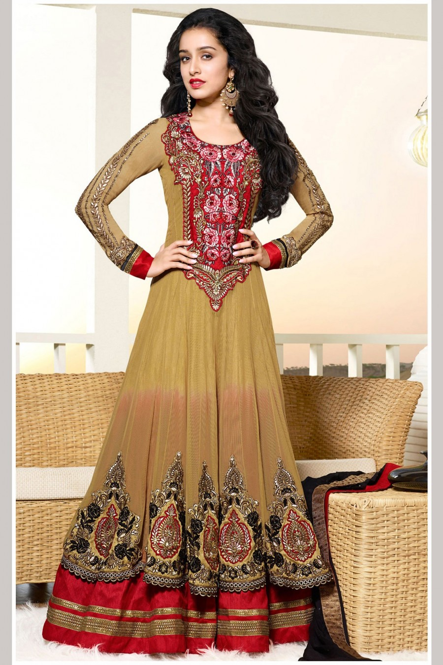 Buy Shraddha Kapoor Brown Net Georgette Anarkali Suit with Heavy Zari and Embroidery Work with Dupatta  Online