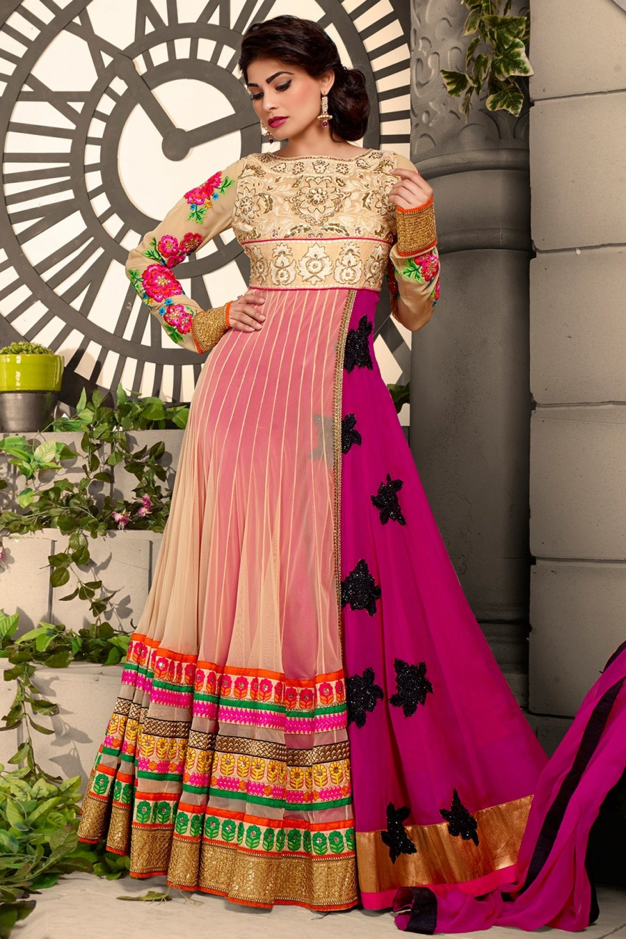 Buy Puja Gupta Beige and Pink Embroidered Salwar Suit with Pink Dupatta  Online