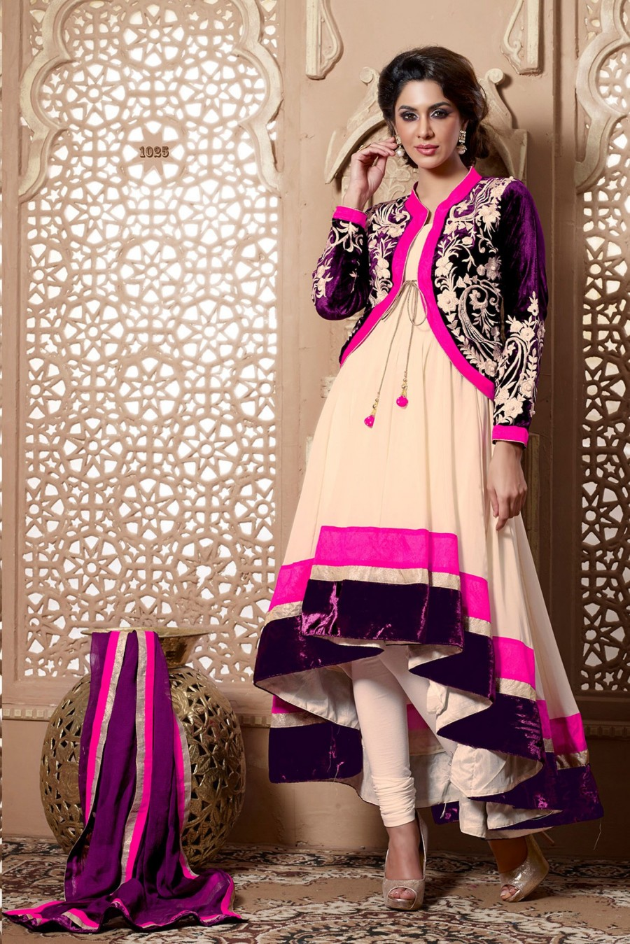 Buy Beige Georgette Anarkali Suit with Embroidery with Dupatta Online