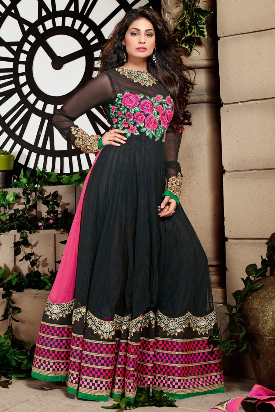 Buy Black Long Net Embroidered Anarkali Suit with Net Dupatta  Online