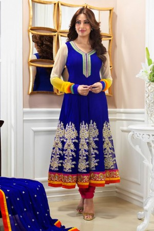 Buy Blue Georgette Embroidered Semi-stitched Anarkali Online