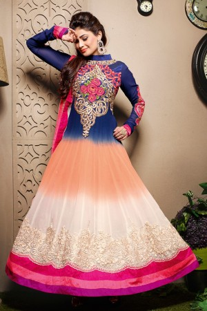 Buy Shaded Cream, Saffron, Blue Gown -Style Embroidered Georgette Anarkali Suit with Dupatta Online