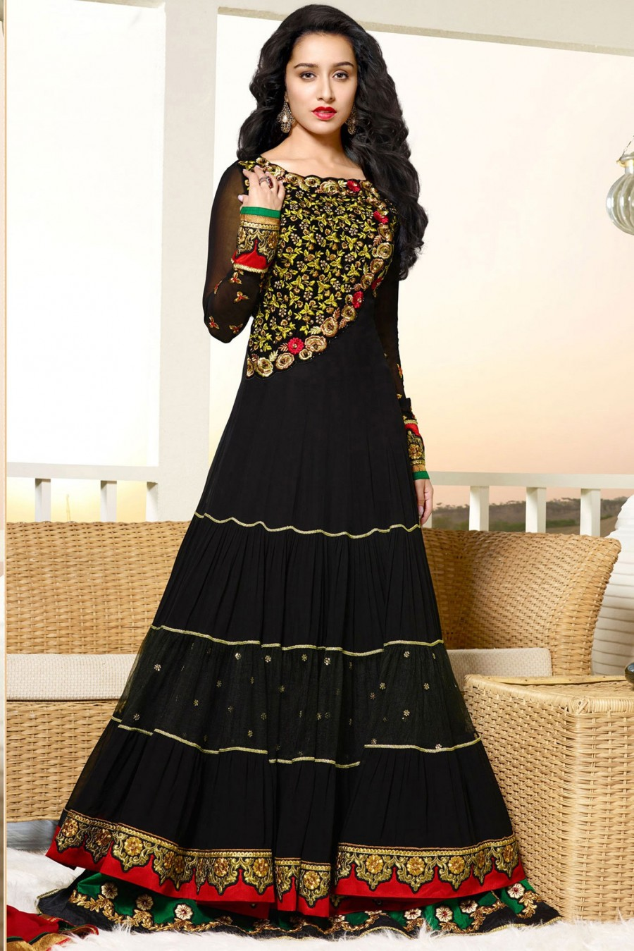 Buy Shraddha Kapoor Magical Black Velvet Georgette Salwar Suit with Pearl Work with Dupatta Online