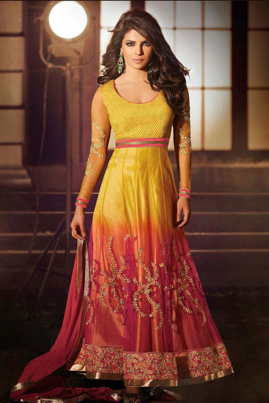 Buy Priyanka Chopra Gorgeous Yellow and Orange Net Anarkali Suit with Border and Stone Work with Dupatta  Online