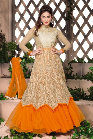 Buy Cream and Orange Gown -Style Heavy Embroidered Anarkali Suit with Dupatta Online