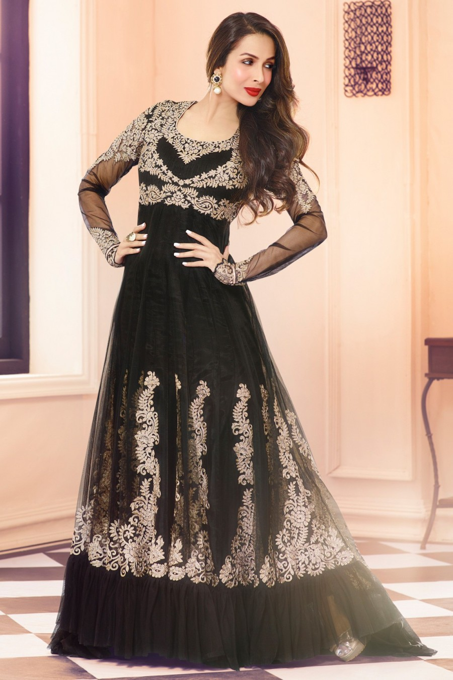 Buy Malaika Arora Khan Black Net Semi-stitched Anarkali Suit with Chiffon Dupatta Online