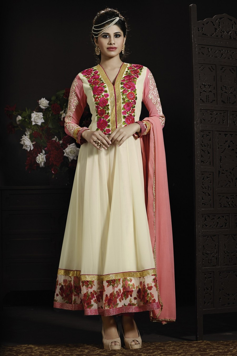 Buy Cream Embroidered Anarkali With Pink Bottom and Chiffon Dupatta Online
