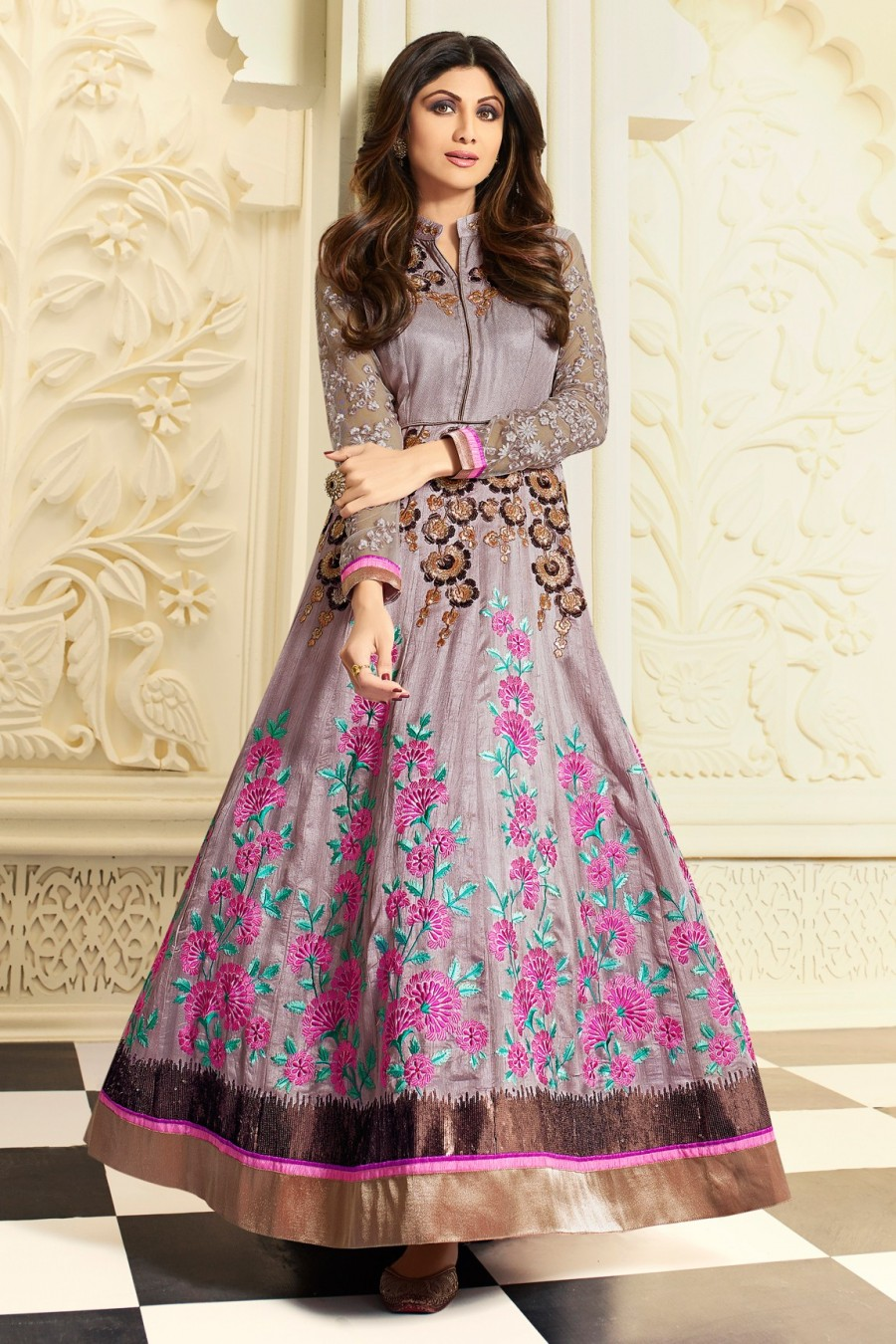 Buy Shilpa Shetty Light Purple Semi-stitched Gown style Salwar Kameez with Bottom and Dupatta Online
