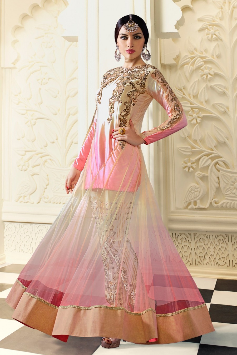 Buy Pink and Beige Net Semi-stitched Fancy Salwar Kameez with Bottom and Dupatta  Online