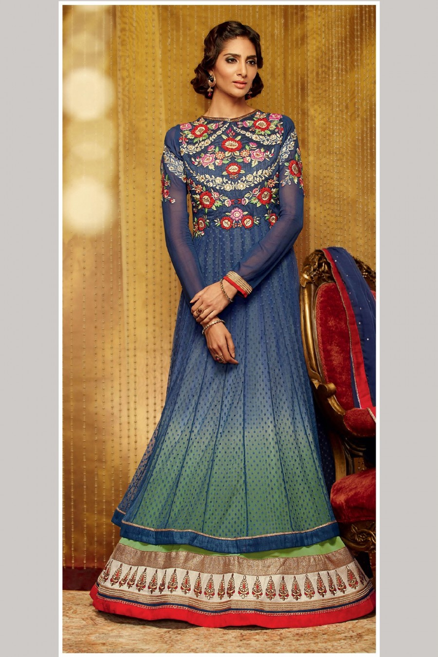 Buy Blue Soft Net Anarkali Suit Designed By Resham Embroidery Work with Dupatta Online