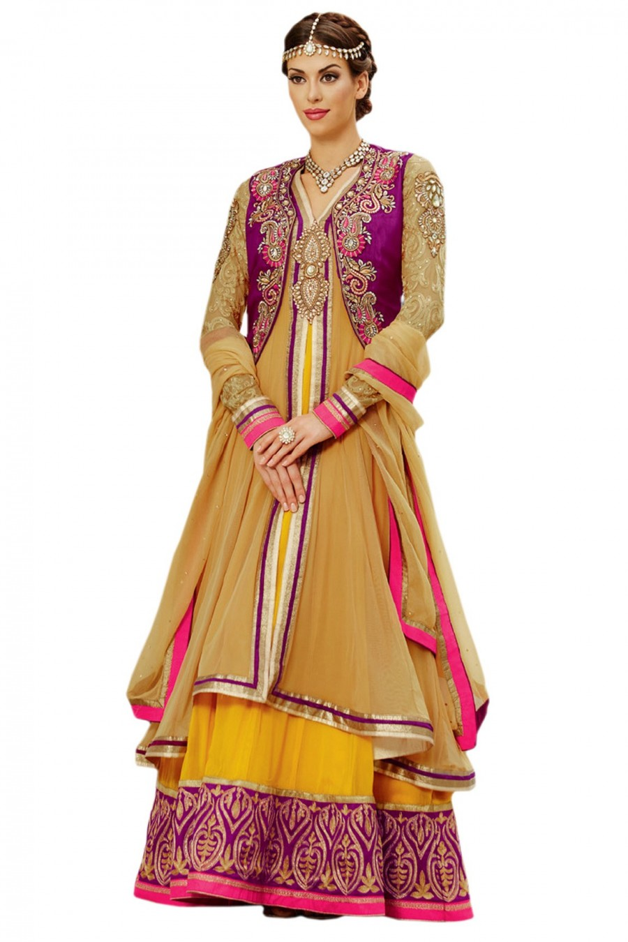 Buy Mustard and Yellow Anarkali Suit with Chiffon Dupatta  Online