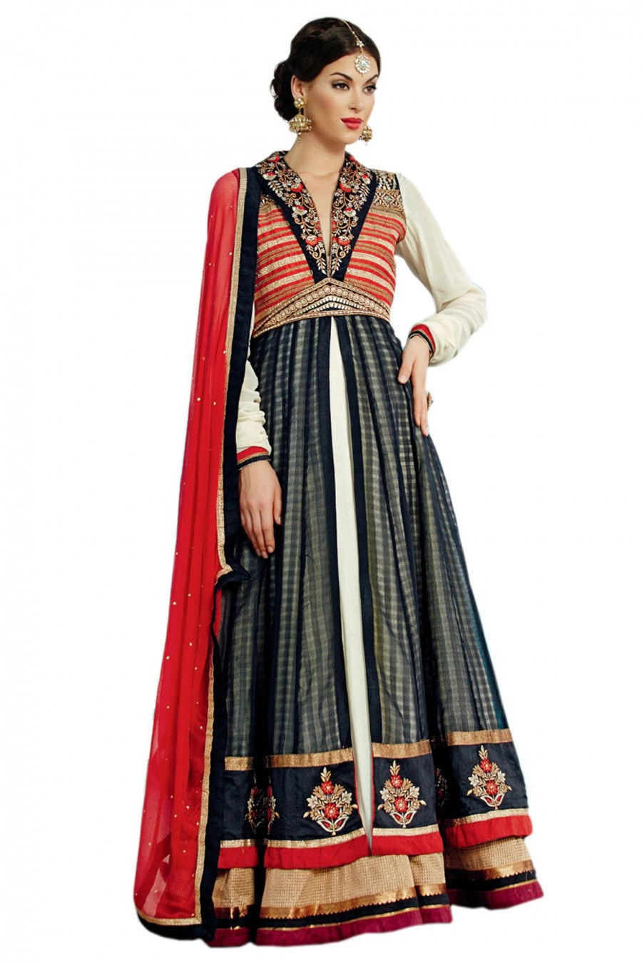 Buy Cream and Navy Blue Banarasi Anarkali Suit Comprising Floral Embroidery Work with Dupatta Online