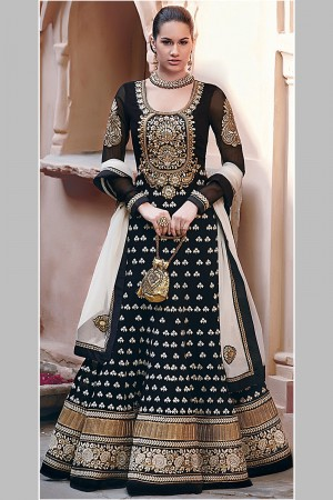 Buy Black Georgette Anarkali Suit with Resham Embroidery Work with Dupatta Online