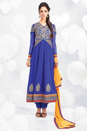 Buy Blue Georgette Anarkali Suit with Yellow Dupatta Online