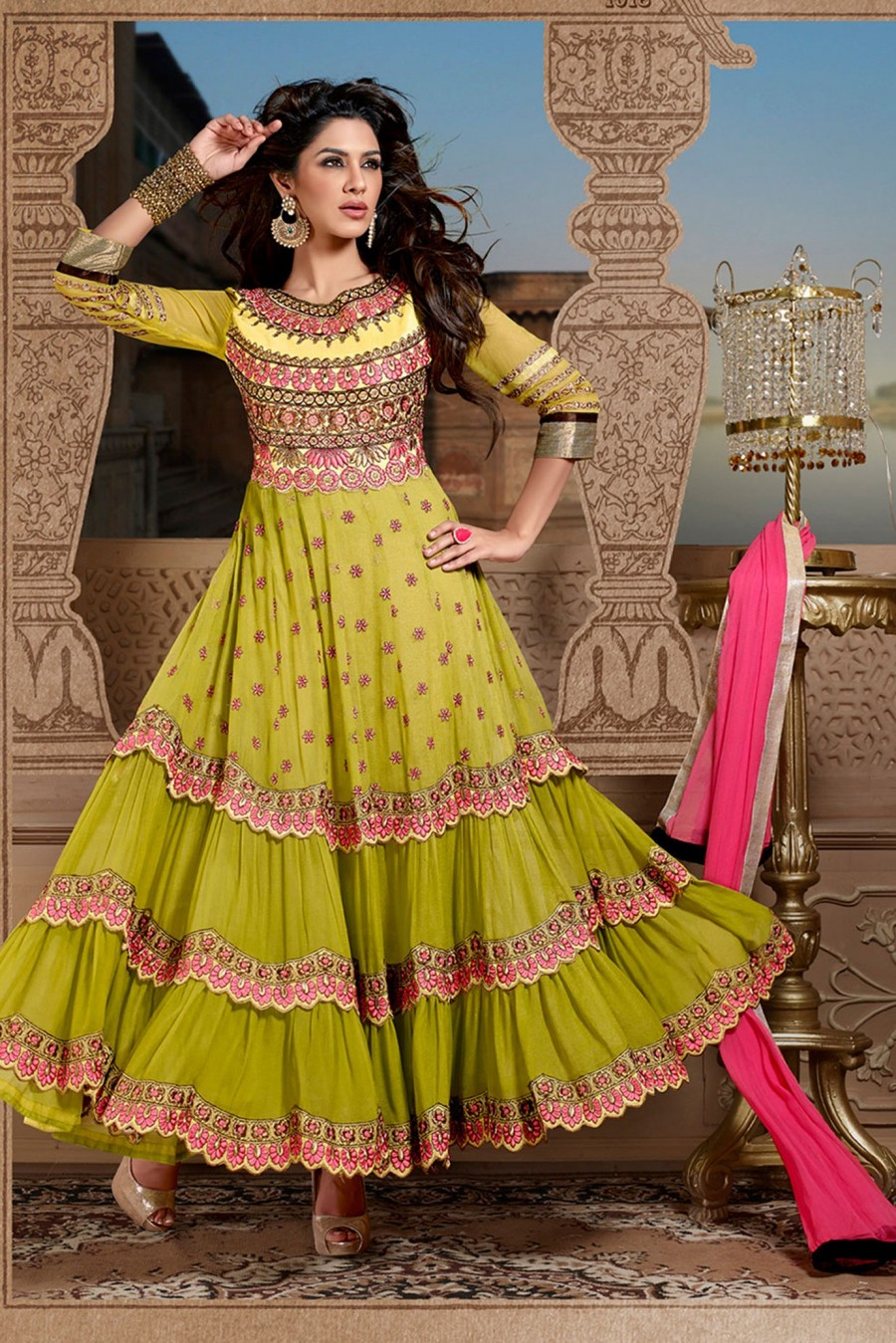 Buy Charming Green Georgette Anarkali Suit Decorated with Embroidery Work with Dupatta Online