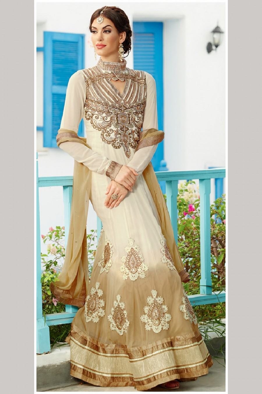 Buy Cream Georgette Embroidered Anarkali Suit with Beige Dupatta Online