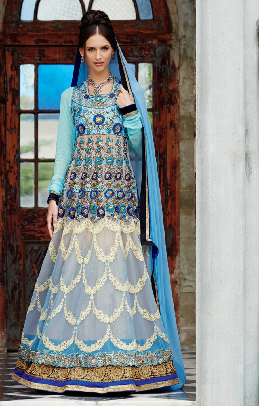 Buy Sky Blue Embroidered Fancy Suit with Chiffon Dupatta Online